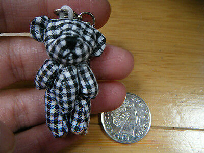 """Unique Tiny Small Miniature Jointed Black Gingham Bear 4.5cm/1.5"""" Tall UK Seller"""