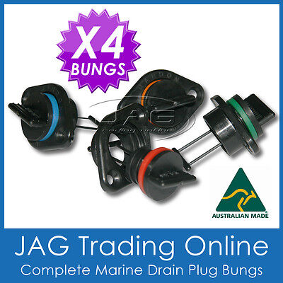 4 x COMPLETE DRAIN PLUG MARINE/BOAT BUNGS STANDARD SIZE