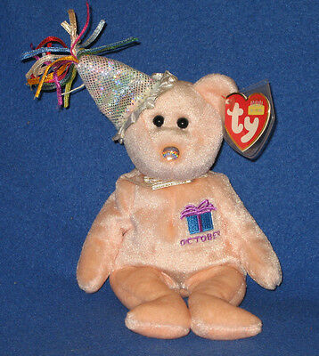 TY OCTOBER the BIRTHDAY BEAR BEANIE BABY - MINT with MINT TAG