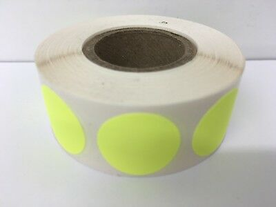 """1"""" Circle CHARTREUSE Color Coded Coding Inventory Warehouse Labels 1000/Roll"""