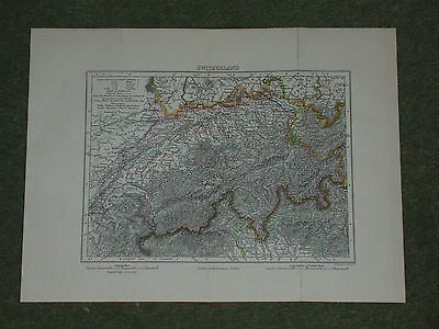 Print over 120 years old Map of Switzerland
