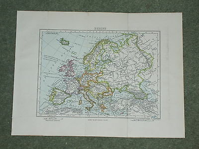 Print over 120 years old Map of Europe