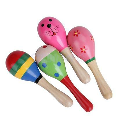 1 Piece Colorful Wooden Maracas Musical Baby Children Educational Toys