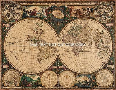 Vintage Frederik de Wit Old Color Antique World Colour Sheet Map Print 42x33 cm