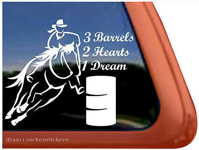 3 BARRELS, 2 HEARTS, 1 DREAM Barrel Racing Horse Trailer Window Decal Sticker