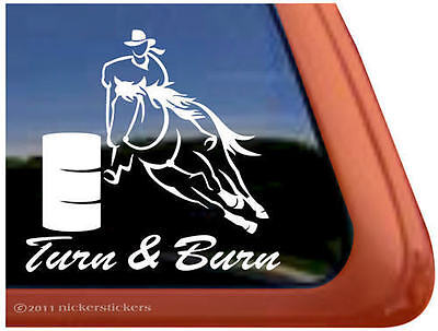TURN & BURN Barrel Racing Horse Trailer Window Decal Sticker