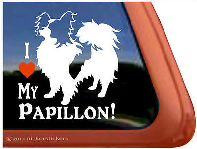 I LOVE MY PAPILLON Dog Window Decal Sticker ~ Very Cute!
