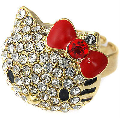 Cute Hello Kitty Gold Adjustable Ring RED BOW with Lovely Swarovski Crystal