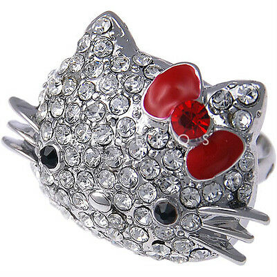 Cute Hello Kitty Silver Adjustable Ring RED BOW with Lovely Swarovski Crystal