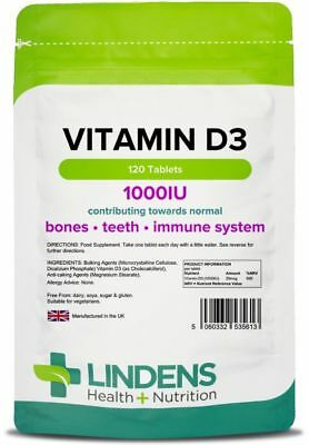 Vitamin D3 1000IU (25mcg) mood, bone/immune health (120 tablets) [Lindens 5613]