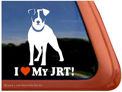 I LOVE MY JRT ~ High Quality Vinyl Jack Russell Terrier Dog Window Decal Sticker
