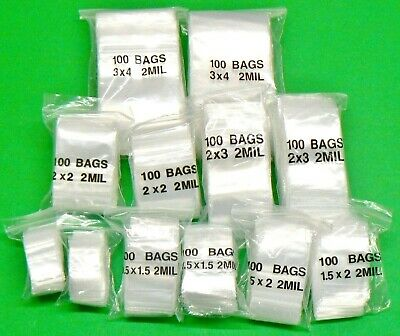 1200 Clear Zip Lock 2mil Clear Poly Bags 6 Assorted Sizes 200 Each - 1x1 To 3x4