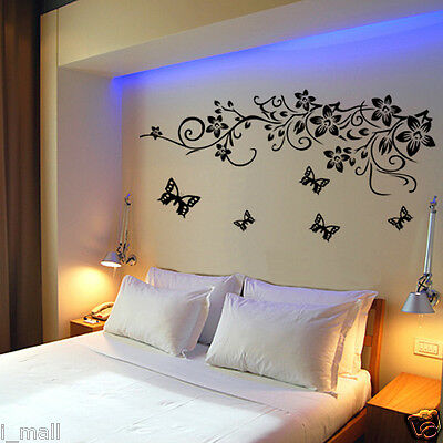STUNNING BUTTERFLIES & FLORALS Removable Wall Decal for your home or business