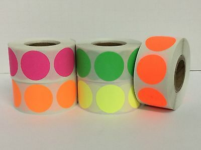 """2"""" Round FLUORESCENT Pack Color Coded Inventory Labels (5 Rolls-1000/Roll)"""
