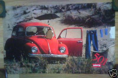 Levi's Levi Strauss 501 Jeans Advertising Poster Red Volkswagen VW Bug Beetle