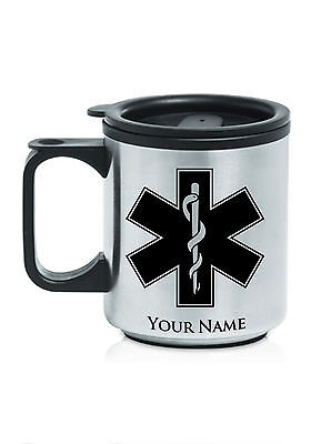 Personalized Stainless Steel Coffee Mug - STAR OF LIFE, MEDICAL, EMT, PARAMEDIC