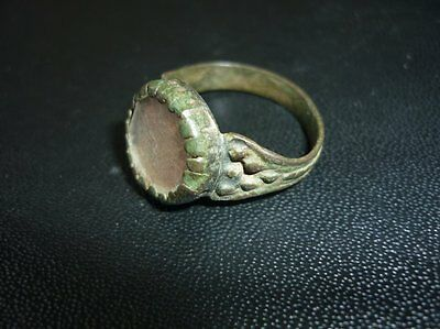Antique Ottoman Bronze Ring With Glass 18 Century