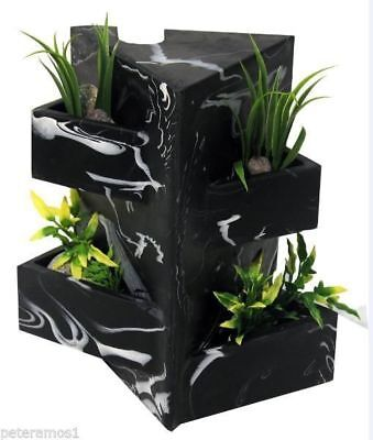 Fluval Edge Aquarium Fish Tank Black Marble Effect Ornament + Plant Holder