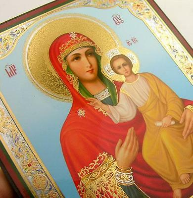 """Madonna & Child Russian Icon Christ Jesus Virgin Mary Wood Gold Silver Foil  5"""""""