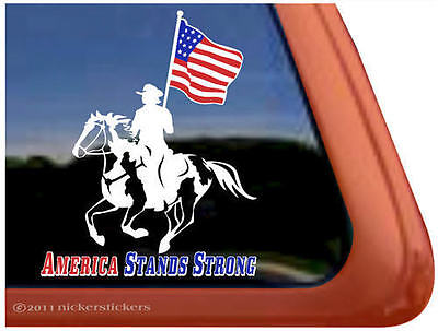 AMERICAN STANDS STRONG ~ Drill Team Paint Horse Trailer Window Decal Sticker