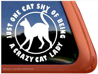 ONE CAT SHY OF BEING A CRAZY CAT LADY ~  Funny Kitty Cat Window Decal Sticker