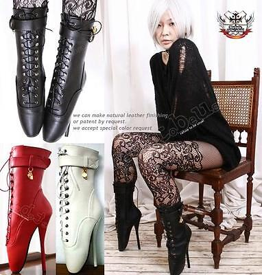 """7"""" Fetish Gothic Punk Ballet Pinup Point Lace up Boots"""