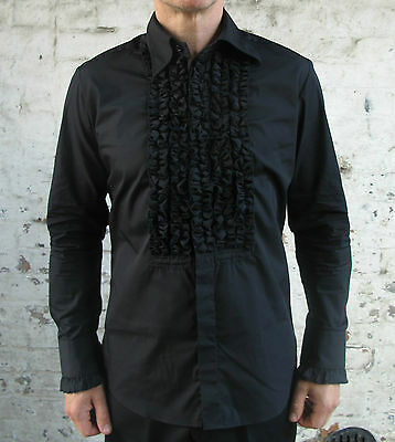 Mens Retro Black Ruffle Frill Tuxedo Dress Shirt Dinner Disco Wedding New 70s