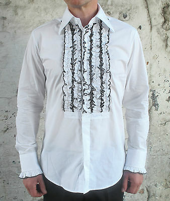Mens Retro White Ruffle Frill Tuxedo Dress Shirt Dinner Disco Wedding New 70s
