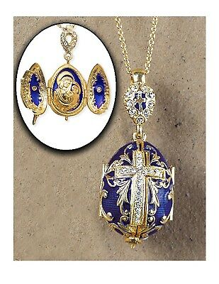 Madonna and Child Icon Locket Cross Egg Pendant Silver Gold Tone 1 1/2 Inch