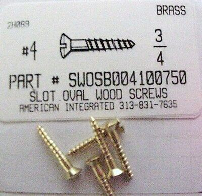 #4x3/4 Oval Head Slotted Wood Screws Solid Brass (50)