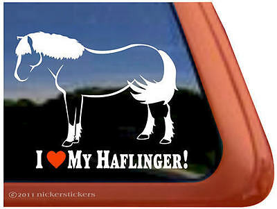 I LOVE MY HAFLINGER ~ High Quality Vinyl Horse Trailer Window Decal Sticker