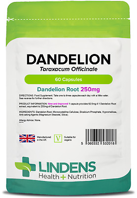 Dandelion whole-herb 250mg Capsules (60 pack) detox [Lindens 2018]