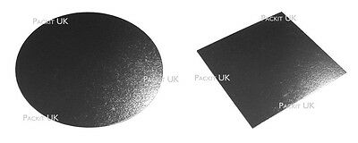 "8 10 & 12"" Inch Square or Round Silver Cake Boards Weddings Birthdays"