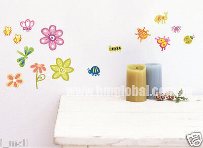 CUTE INSECTS,BUGS..FLOWERS Kids Removable Wall Sticker For Kids Room or Nursery
