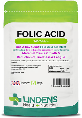 Folic Acid 400mcg - healthy pregnancy vitamins - (240 tablets) [Lindens 0984]
