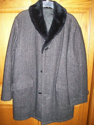 Vintage Mens Size Medium Large Wool Car Coat Over Dress Coat Black Tweed Fur