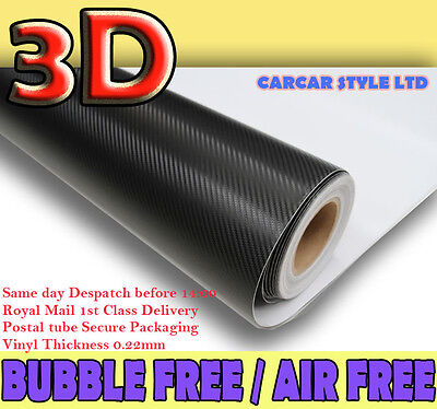 3D Matt Carbon Fibre Vinyl Sheet Wrap Sticker Film 1520mm x 300mm (Bubble Free)