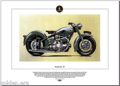 SUNBEAM S7 - Motorcycle Fine Art Print - 500 Twin Motorbike '49 -'56 Shaft Drive
