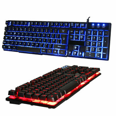 RGB LED Gaming Keyboard USB Wired 7 Color Illuminated Backlit Blue/Red/Purple UK