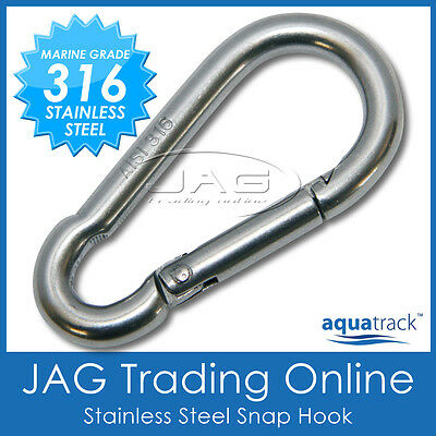 6mm 316 STAINLESS STEEL SNAP SPRING HOOK - Marine/Boat/Sailing/Shade/Sail/4x4