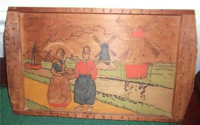 1942 FLEMISH ART Wooden Souvenir Tray NIAGARA FALLS, NY Dutch Couple & Windmills