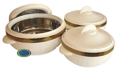 White Classic Hot Food Serving Storage Round Insulated Casserole Pot Set Of 3