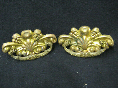 Pair Antique Brass Drawer Handle Pulls Sea Shell 5""