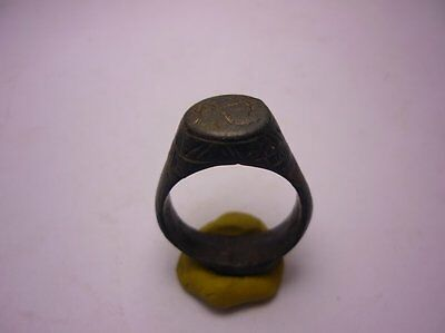 Antique Ottoman Bronze Ring Green Patina