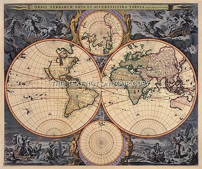 Visscher Antique Vintage Blue Colour Color Old World Map Plan Double Hemisphere