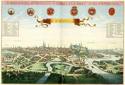Cracovia Krakow Poloniae Poland by Johannes Janssonius Antique Reproduction Map