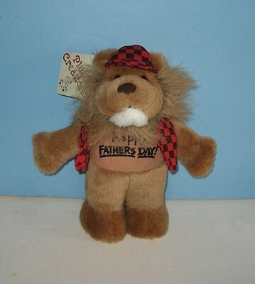 """New 10"""" Checkered Vest Lion """"Happy Father's Day"""" Plush"""