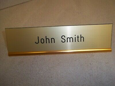 Custom engraved desk name plate with holder.