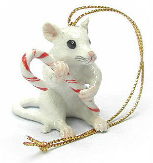 R256 - Northern Rose Christmas Ornament -Mouse with Candy Cane