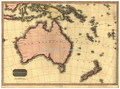 Australia Australasia New Zealand Antique Old Colour Reproduction Color Map Plan